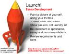 launch essay development