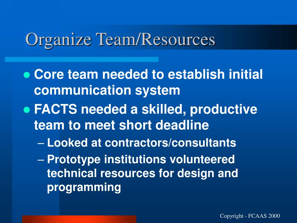 Organize Team/Resources