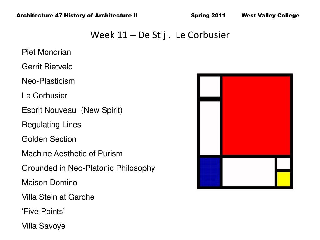 Week 11 – De Stijl.  Le Corbusier