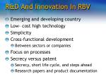 r d and innovation in rbv
