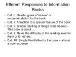 efferent responses to information books