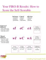 your firo b results how to score the self scorable