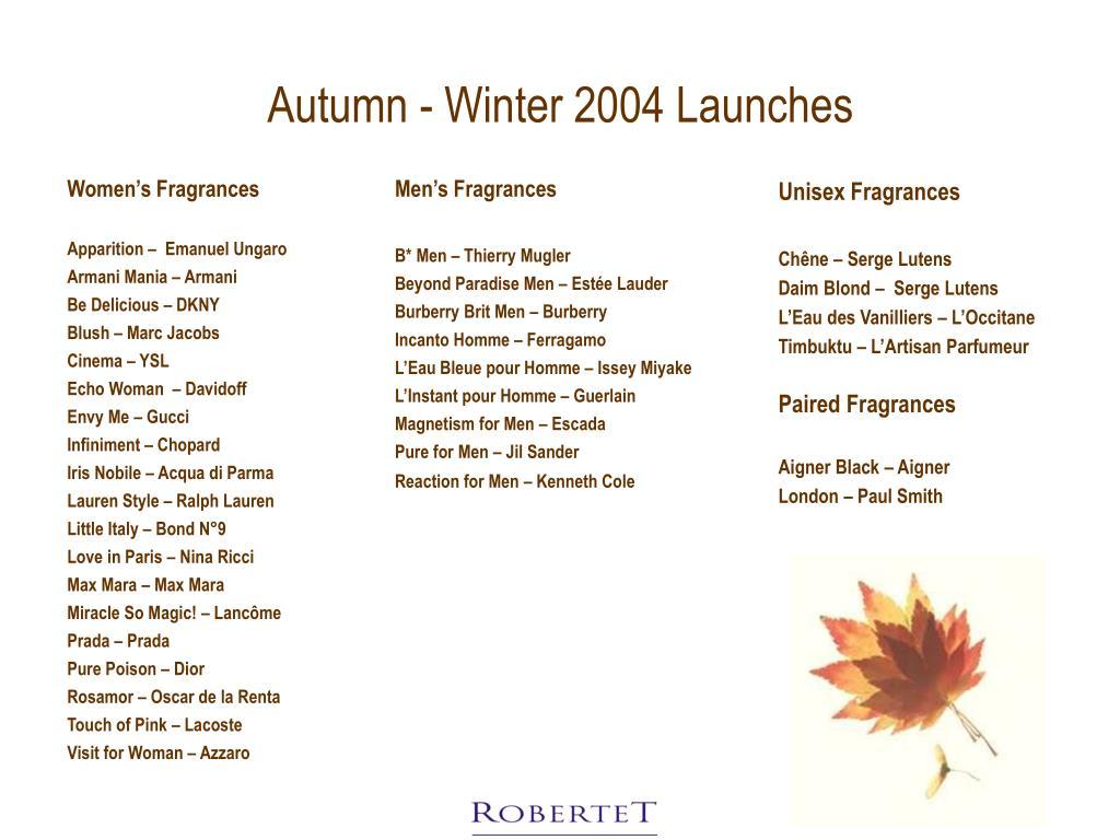 Autumn - Winter 2004 Launches