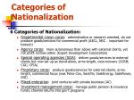 categories of nationalization