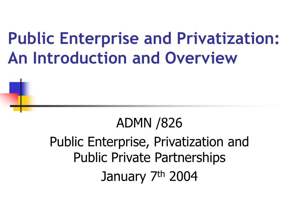 public enterprise and privatization an introduction and overview l.