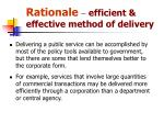 rationale efficient effective method of delivery