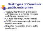 sask types of crowns or public enterprises