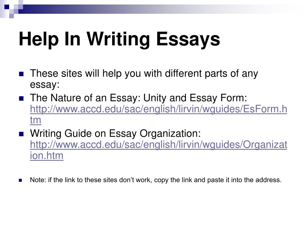 Help In Writing Essays