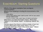 ecocriticism starting questions