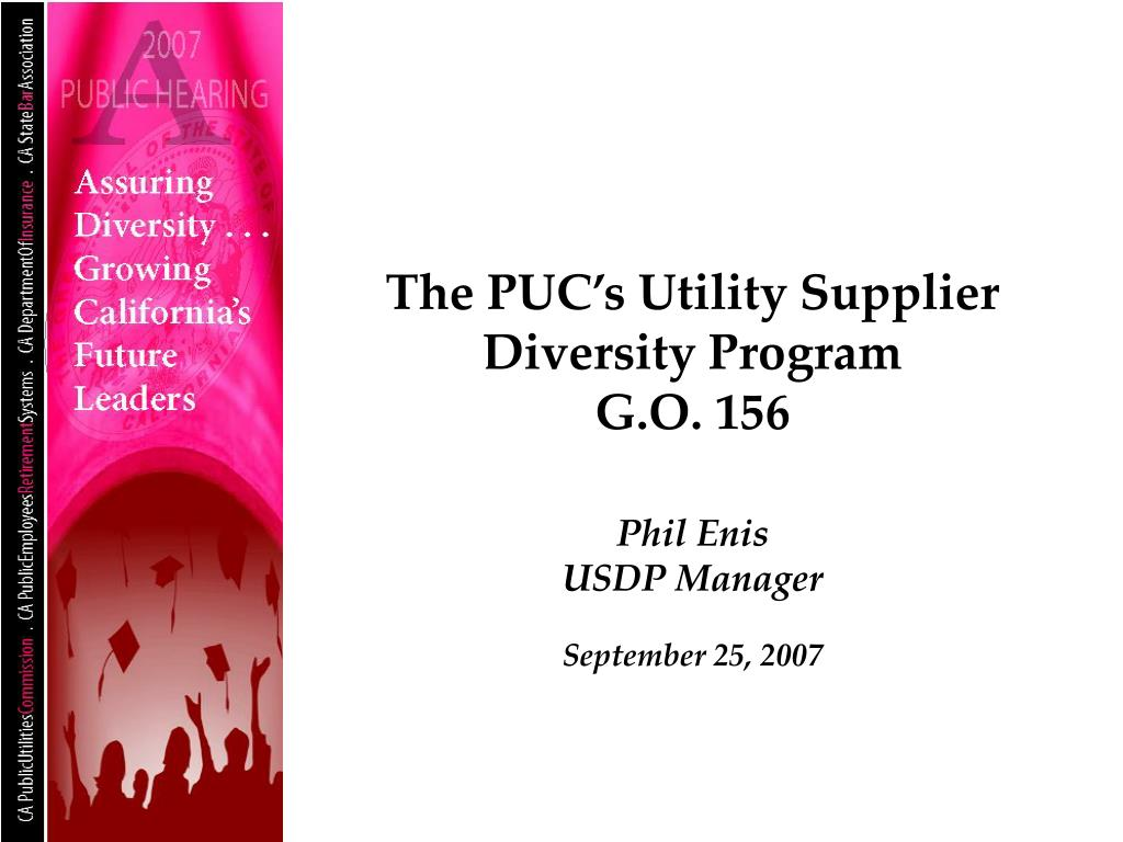the puc s utility supplier diversity program g o 156 l.