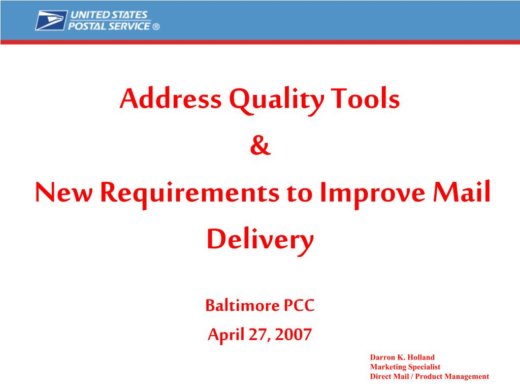 address quality tools new requirements to improve mail delivery baltimore pcc april 27 2007 l.