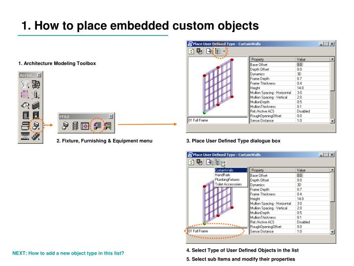 1. How to place embedded custom objects