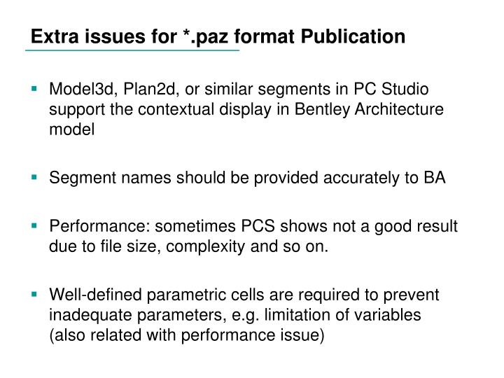 Extra issues for *.paz format Publication