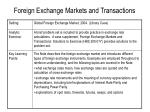 foreign exchange markets and transactions