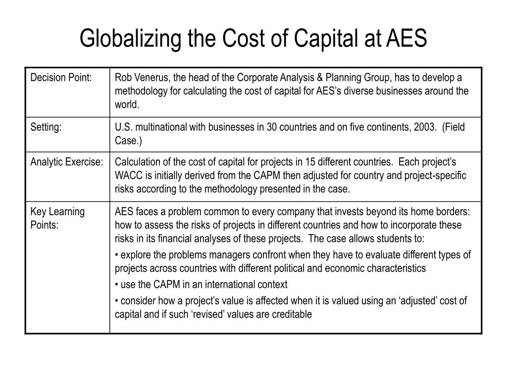 spreadsheet for globalizing the cost of capital and capital budgeting at aes