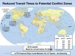 reduced transit times to potential conflict zones
