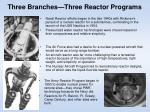 three branches three reactor programs