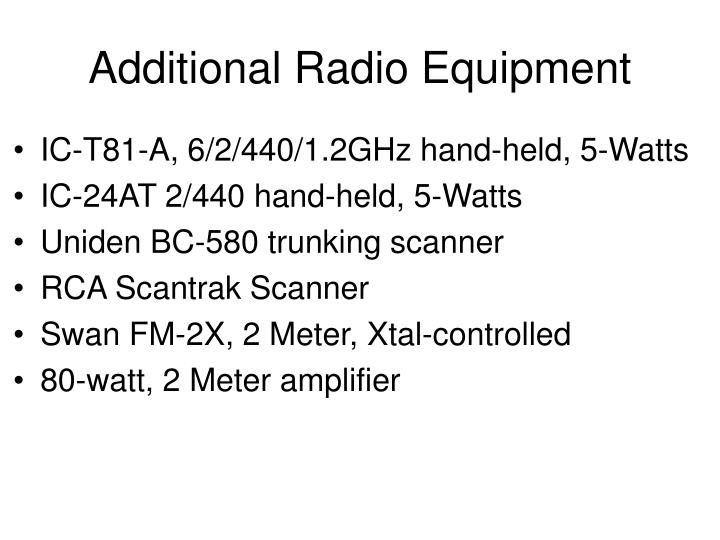 Additional Radio Equipment