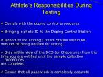 athlete s responsibilities during testing