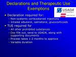 declarations and therapeutic use exemptions