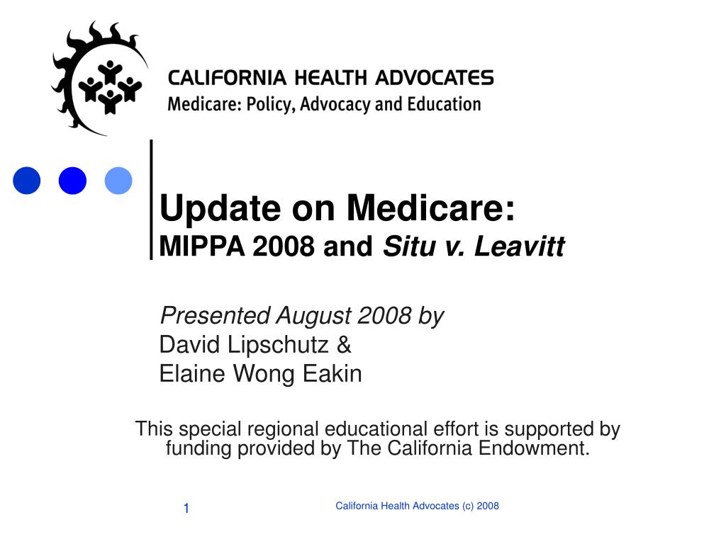 update on medicare mippa 2008 and situ v leavitt l.