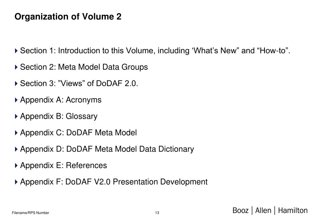 Organization of Volume 2