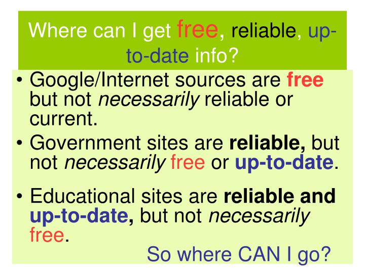 Where can i get free reliable up to date info