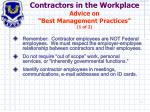 contractors in the workplace advice on best management practices 1 of 2