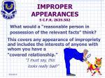 improper appearances 5 c f r 2635 502