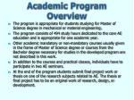 academic program overview