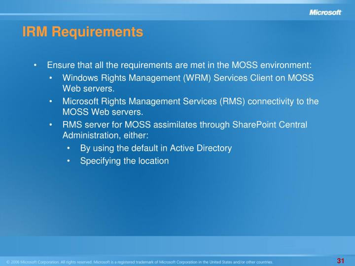 IRM Requirements
