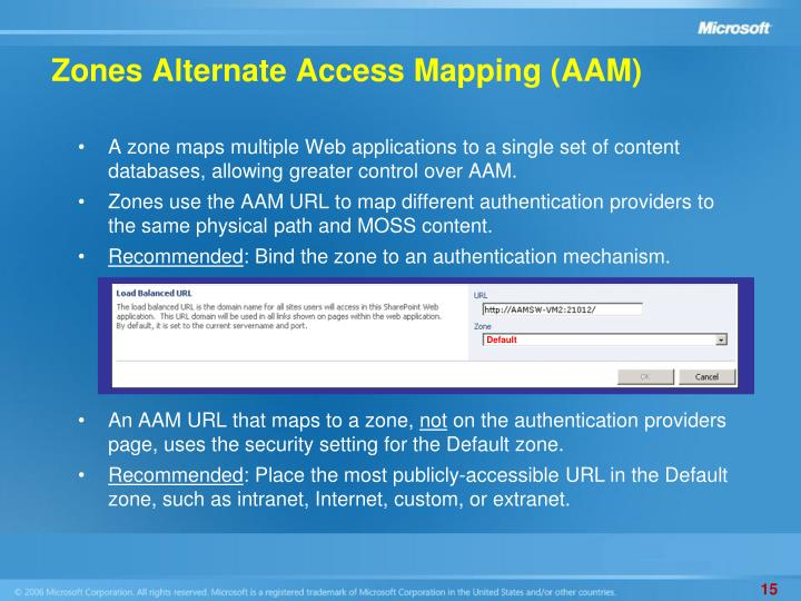 Zones Alternate Access Mapping (AAM)
