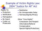 example of victim rights law 2004 justice for all act