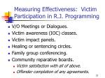measuring effectiveness victim participation in r j programming