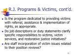 r j programs victims cont d