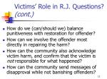 victims role in r j questions cont