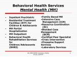 behavioral health services mental health mh