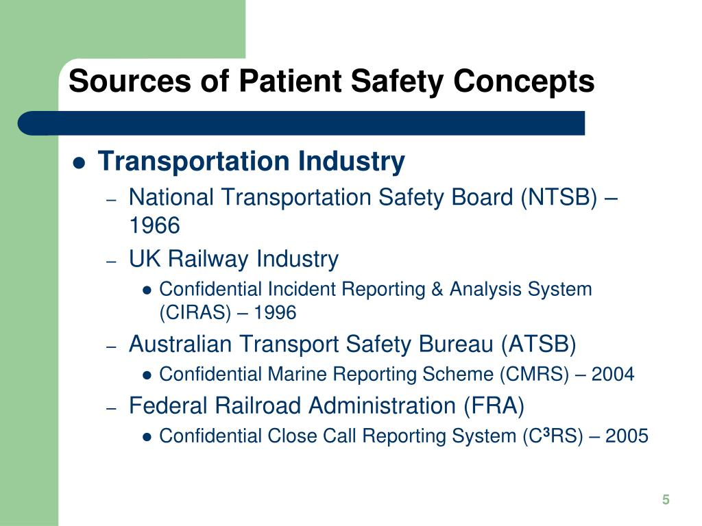 Sources of Patient Safety Concepts