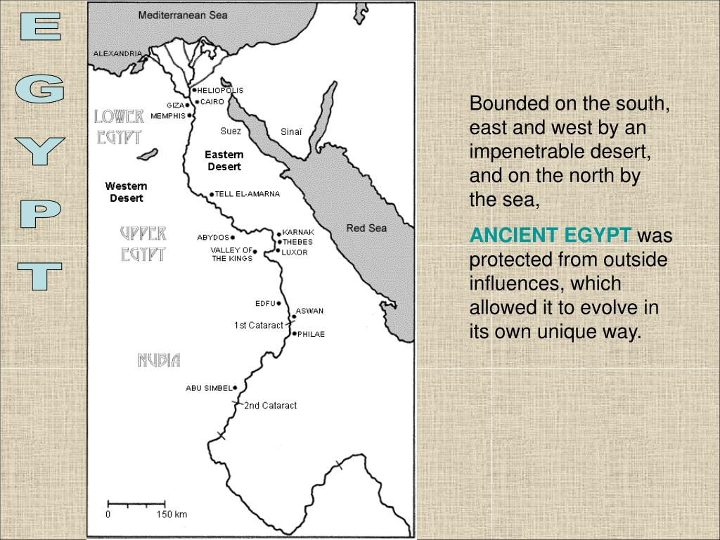Bounded on the south, east and west by an impenetrable desert, and on the north by the sea,