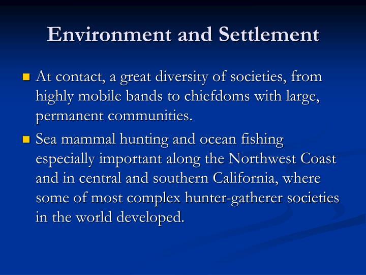 Environment and settlement