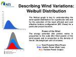 describing wind variations weibull distribution