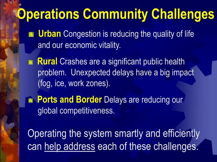 Operations Community Challenges