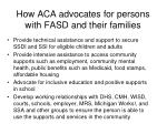 how aca advocates for persons with fasd and their families