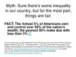 myth sure there s some inequality in our country but for the most part things are fair