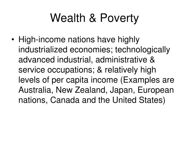 wealth poverty n.