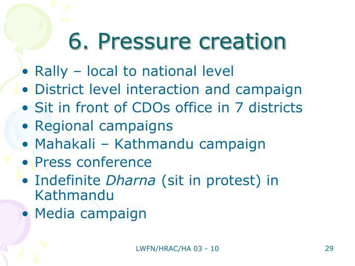 6. Pressure creation
