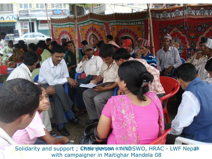 Solidarity and support ; Chair person - NNDSWO, HRAC - LWF Nepal