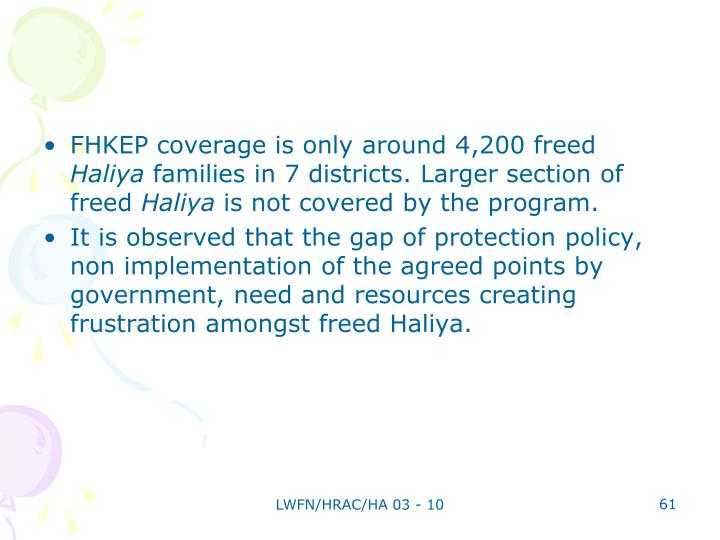 FHKEP coverage is only around 4,200 freed