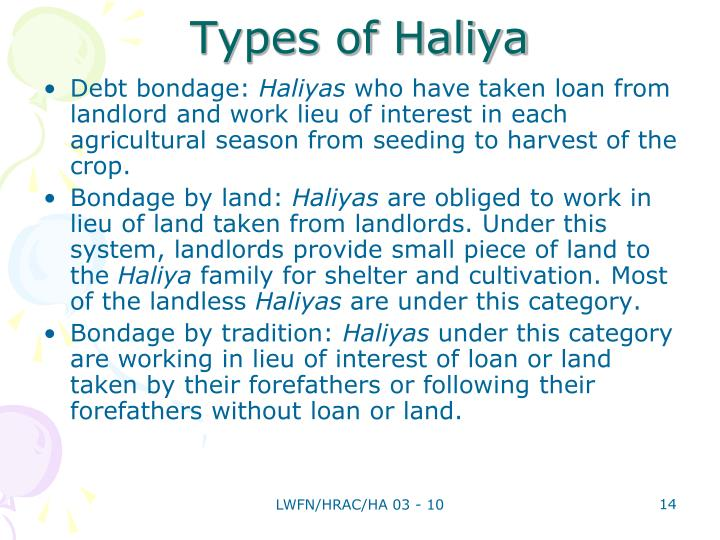 Types of Haliya