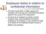 employees duties in relation to confidential information